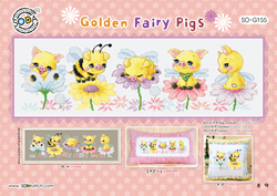 Borduurpatroon Golden Fairy Pigs - Soda Stitch