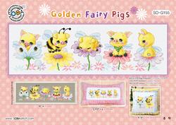 Borduurpatroon Golden Fairy Pigs - Soda Stitch