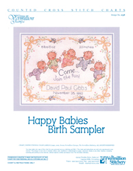 Borduurpatroon Happy Babies Birth Sampler - Vermillion Stitchery