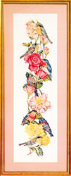 Borduurpatroon Birds and Roses Picture - Vermillion Stitchery