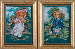 Borduurpatroon Pinky & Blue Bear - Vermillion Stitchery