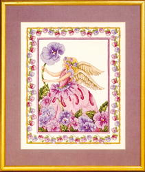 Borduurpatroon Purple Pansy Angel - Vermillion Stitchery