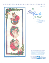Borduurpatroon 3 Oval Santas BellPull - Vermillion Stitchery